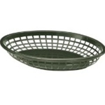 Plastic Food Basket Jumbo Oval Forest Green 11 3/4 X 8 7/8 X 1 7/8