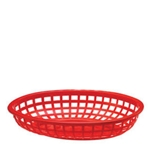 Plastic Food Basket Classic Oval Red 9 3/8 X 6 X 1 7/8
