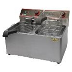 Winco EFT-32 32 lb. Countertop Fryer  Twin Pot 120v
