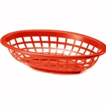 Plastic Food Basket Oval Red 7 3/4 X 5 1/2 X 1 7/8