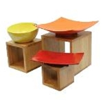 Tablecraft WBAM3- Square Barclay™ Riser Set - Bamboo Wood - (5\