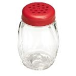 Tablecraft P260RE - Plastic Shaker w/ Perforated Top - Red- 6 Oz.