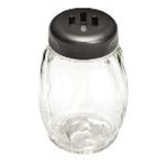 Tablecraft P260SLBK - Plastic Shaker w/ Slotted Plastic Top - Black - 6 Oz.