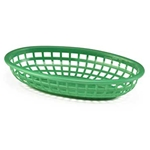 Plastic Food Basket Classic Oval Forest Green 9 3/8  X 6 X 1 7/8