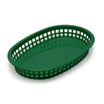 Plastic Food Basket Forest Green Chicago Oval 10 1/2 X 7 X 1 1/2