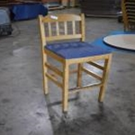 Used Wood Bar Stool w/Blue Cushion