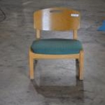 Used Wood Chair w/ Green Seat