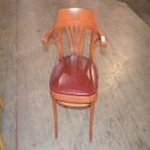 Used Wooden Chair w/Burgundy Seat