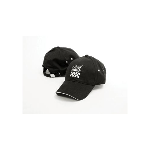 Chef's Black Baseball Hat, Adjustable strap